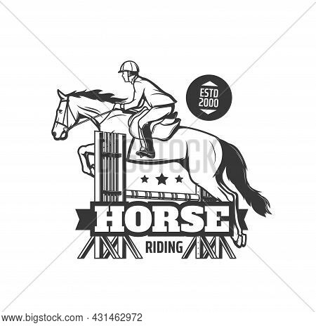 Horse Riding School Icon. Equestrian Club, Horse Race Competition Or Show Jumping Event Monochrome V