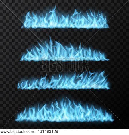 Natural Gas, Realistic Blue Fire Trails, Long Burning Tongues. Vector Flames, Burning Magic Blaze Ef