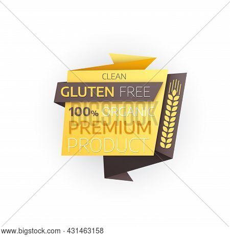 Gluten Free Premium Product Vector Icon Of Organic Food Origami Paper Banner With Wheat Ear Or Cerea