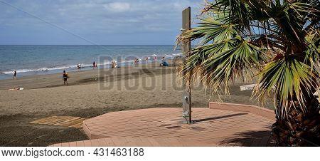 Palm Tree And Shower By The Beach, Playa San Agustin, Coast Of Gran Canaria, Canary Islands, Spain