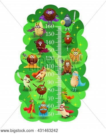 Kids Height Chart, Nuts Superheroes And Defenders, Vector Growth Meter Background. Kids Height Chart