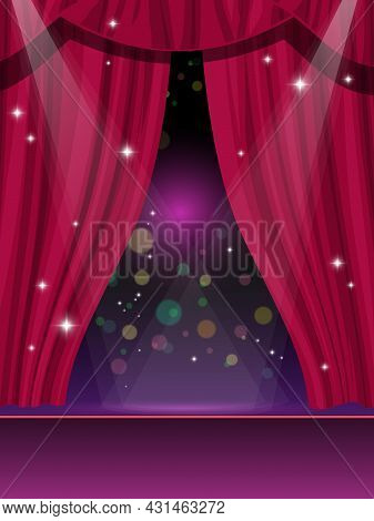 Red Curtains On Stage, Circus Or Theater And Cinema Show Vector Background. Red Curtains Or Velvet D