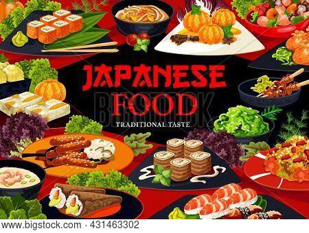 Japanese Cuisine Food Menu Cover. Walnut Rolls, Yakitori And Mandarin In Syrup, Uramaki, Nigiri And