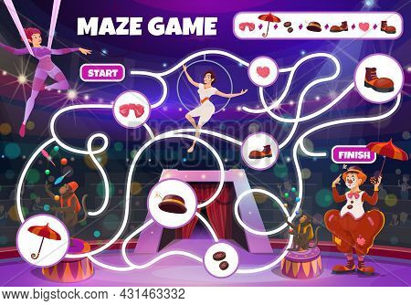 Circus Maze Game, Vector Labyrinth Kids Boardgame With Big Top Artists On Stage. Children Test With