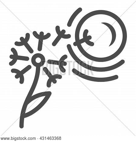 Dandelion Seeds Fly To Sun Line Icon, Nature And Climate Concept, Flower And Sunshine Vector Sign On