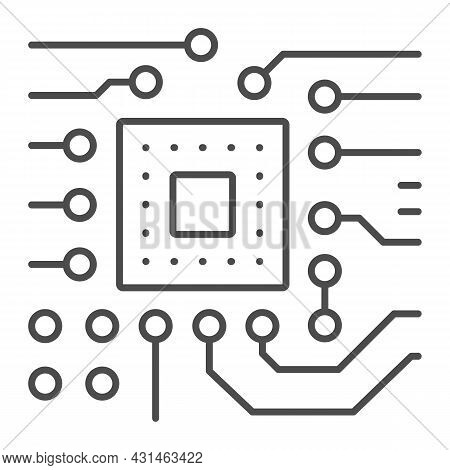 Slot For Processor On Motherboard Thin Line Icon, Electronics Concept, Slot For Cpu Socket Vector Si