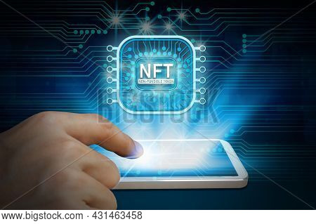 Business Man Using Smartphone Invest And Pay For Unique Collectibles In Games Or Art, Nft Non Fungib