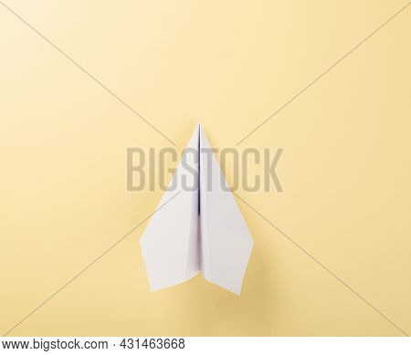 Paper Plane Letter Document Message. Top View Mock Up Design Of Airplane Travel Tourism, Isolated On
