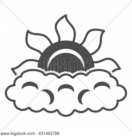 Sun Peeps Out Through Cloud Solid Icon, Weather And Climate Concept, Partially Cloudy Vector Sign On