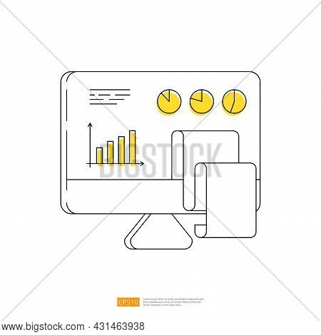 Growth Chart Diagram And Pie Graph On Pc Screen Monitor. Computer Outline Line Art Concept Illustrat