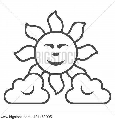 Sun Between The Clouds Thin Line Icon, Weather And Climate Concept, Sunshine In The Sky Vector Sign