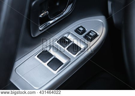 Novosibirsk, Russia - July 28, 2021: Mitsubishi Pajero, Close-up Of The Side Door Buttons: Window Ad