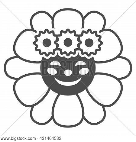 Smiling Sun In Daisies Wreath Solid Icon, Weather Concept, Sunflower In Diadem Vector Sign On White