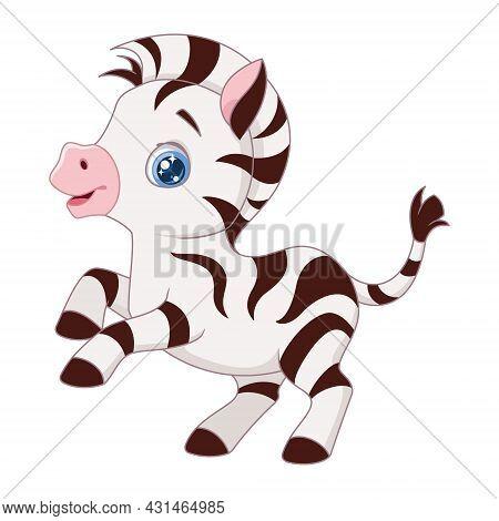 Cute Zippy Zebra On White Background. Cartoon Vector Illustration