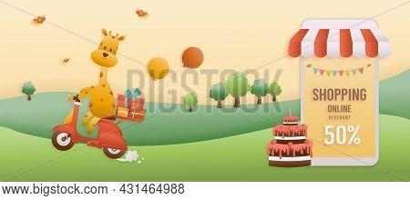 Online Shop Banners Discount Jungle Animals Birthday Themes. Celebration Voucher Happy Birthday. Dec