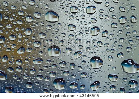 Water Drop On Glass Wall