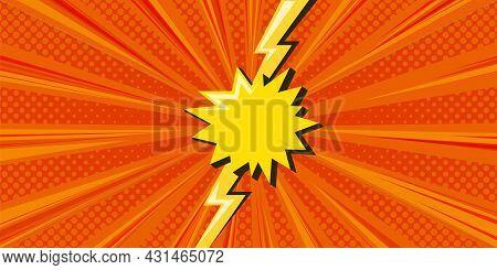 Superhero Halftoned Background With Lightning. Orange Versus Comic Design. Vector Illustration Backd