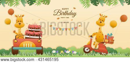 Greeting Card Cute Birthday A Giraffe Drives A Car And A Giraffe Rides A Motorcycle. Jungle Animals