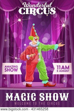 Shapito Circus Poster, Clown At Funfair Carnival Show, Vector Cartoon Harlequin. Circus Carnival And