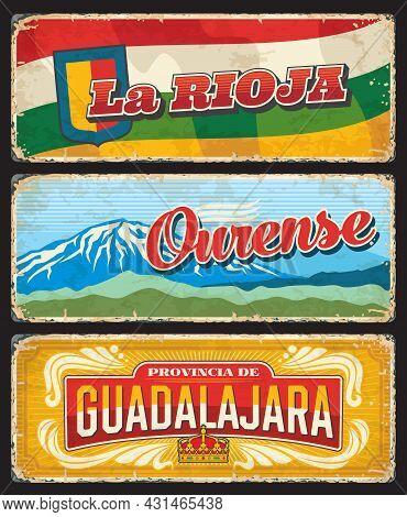 La Rioja, Ourense And Guadalajara Provinces Retro Plates. Spain Regions Grunge Plates With Shabby Si