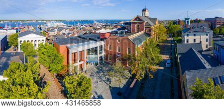 Aerial view of New Bedford Whaling Museum building in New Bedford Whaling National Historical Park in historic downtown of New Bedford, Massachusetts MA, USA.