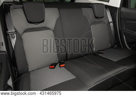 Novosibirsk, Russia - July 28, 2021: Renault Duster, Rear Seat For Passengers In Black Textile