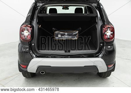 Novosibirsk, Russia - July 28, 2021: Renault Duster, Close-up Of The Open Trunk, Headlight, Bumper,