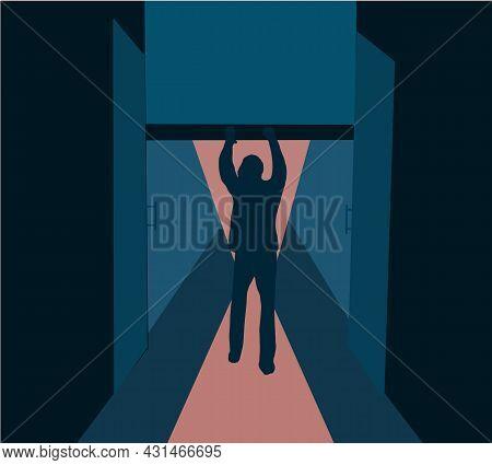 Man Closing Or Open Metal Roller Shutter Door. Factory Roller Door Entrance, Floor Building Store Sh