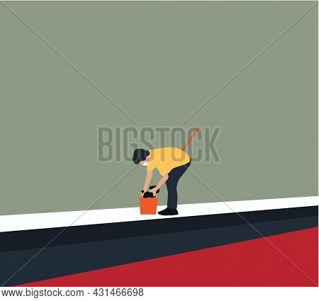 Man With Bucket And Mop Washing The Floor. Washing And Cleaning Service Concept. Disinfection And Cl