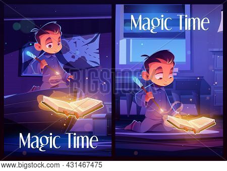 Magic Time Posters With Boy Reading Spell Book In Bedroom At Night. Vector Flyers With Cartoon Illus