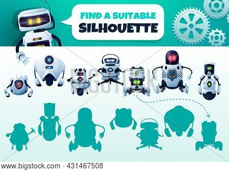 Robot Maze Game Find A Correct Silhouette. Kids Shadow Match Vector Riddle With Cyborgs. Children Lo