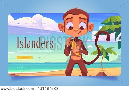 Islanders Banner With Monkey On Sand Beach With Palm Trees. Vector Landing Page Of Exotic Vacation W