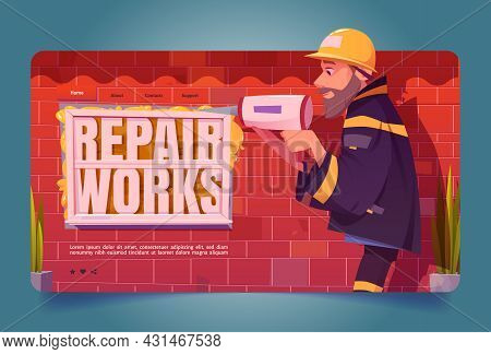 Repair Works Banner. Professional Construction Service. Vector Landing Page With Cartoon Illustratio