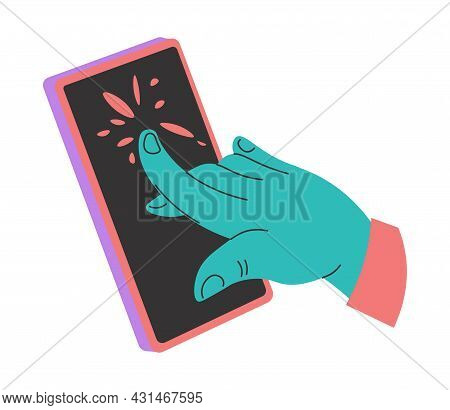Hand Touching Screen Of Mobile Phone Smartphone
