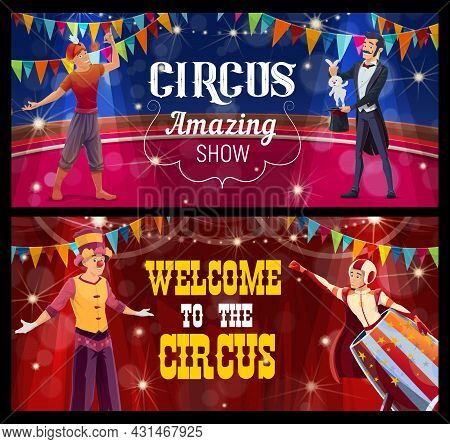 Shapito Circus Stage, Acrobat, Fire Eater, Stilt Walker And Cannon Ball Man Perform Show Program On