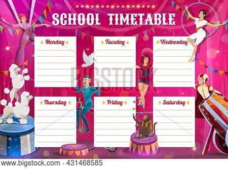 Shapito Circus Performers, Education Timetable With Big Top Artists Acrobat, Air Gymnast And Man Can