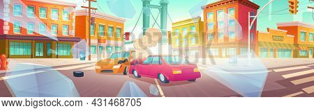 Car Accident On Crossroad Of City Street. Vector Cartoon Illustration Of Auto Crash. Cityscape With