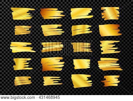 Scribble With A Gold Marker. Big Set Of Doodle Style Various Scribbles. Gold Hand Drawn Design Eleme