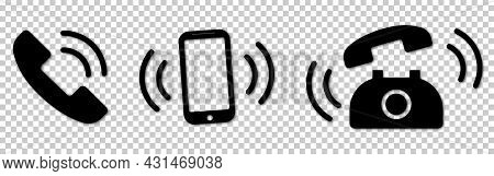 Ringing Phone Icons Set. Smartphone Ringing. Phone Sign. Vector Illustration Isolated On Transparent