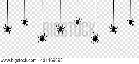 Seamless Pattern With Hanging Spiders. Scary Background For Halloween Isolated On Transparent Backgr