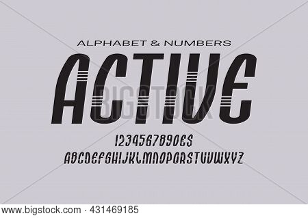 Active Italic Display Font. Modern Letters, Numbers And Currency Signs. Isolated English Alphabet. V