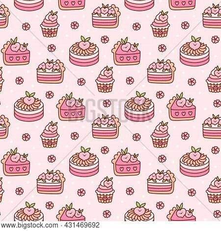 Cute Seamless Pattern With Peach Cakes And Flowers, With White Dots, On A Pink Background. Sweet Bea