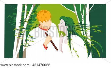 Love Story Of Classic Ukrainian Literature. Forest Song. Vector Colorful Flat Illustration