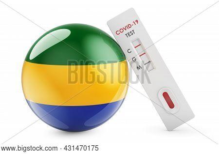 Diagnostic Test For Coronavirus In Gabon. Antibody Test Covid-19 With Gabonese Flag, 3d Rendering Is