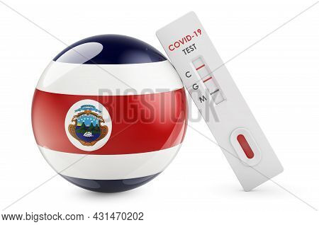 Diagnostic Test For Coronavirus In Costa Rica. Antibody Test Covid-19 With Costa Rican Flag, 3d Rend