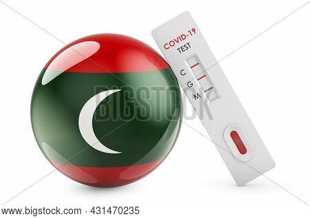 Diagnostic Test For Coronavirus In Maldives. Antibody Test Covid-19 With Maldivian Flag, 3d Renderin