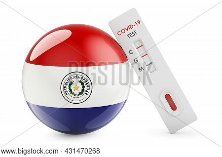 Diagnostic Test For Coronavirus In Paraguay. Antibody Test Covid-19 With Paraguayan Flag, 3d Renderi
