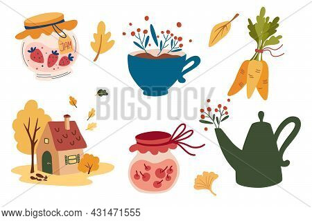 Cozy Autumn. Set Of Elements. Small House, Teapot, Cup, Jam, Leaves And Berries. Home Autumn Comfort