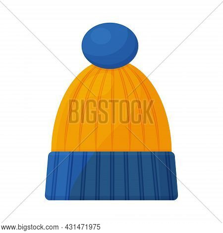 A Warm Children S Knitted Hat Of Blue And Yellow Color With A Cute Bumbone. A Warm Hat For Walking I