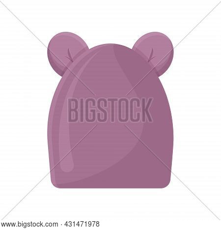 A Warm Pink Children S Hat With Cute Bear Ears. A Warm Hat For Walking In Cold Weather. Warm Clothes